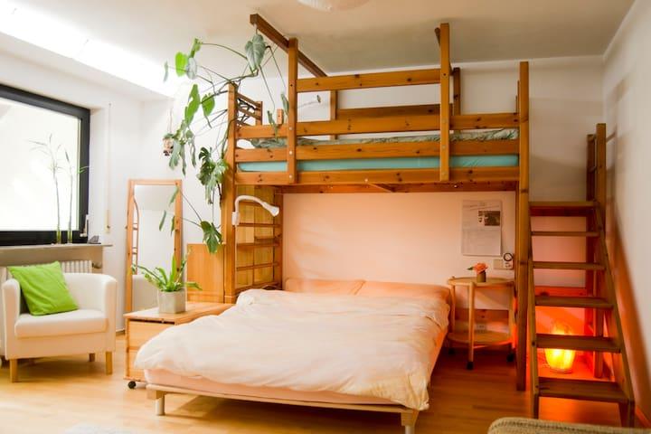 Quiet large room w/private bathroom, free parking - Stuttgart - Apartment